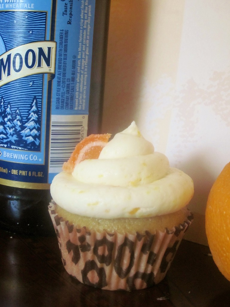 Blue Moon Beer and Orange Cupcakes