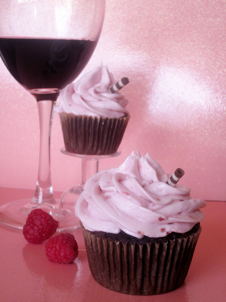 Red Wine Raspberry Chocolate Cupcakes